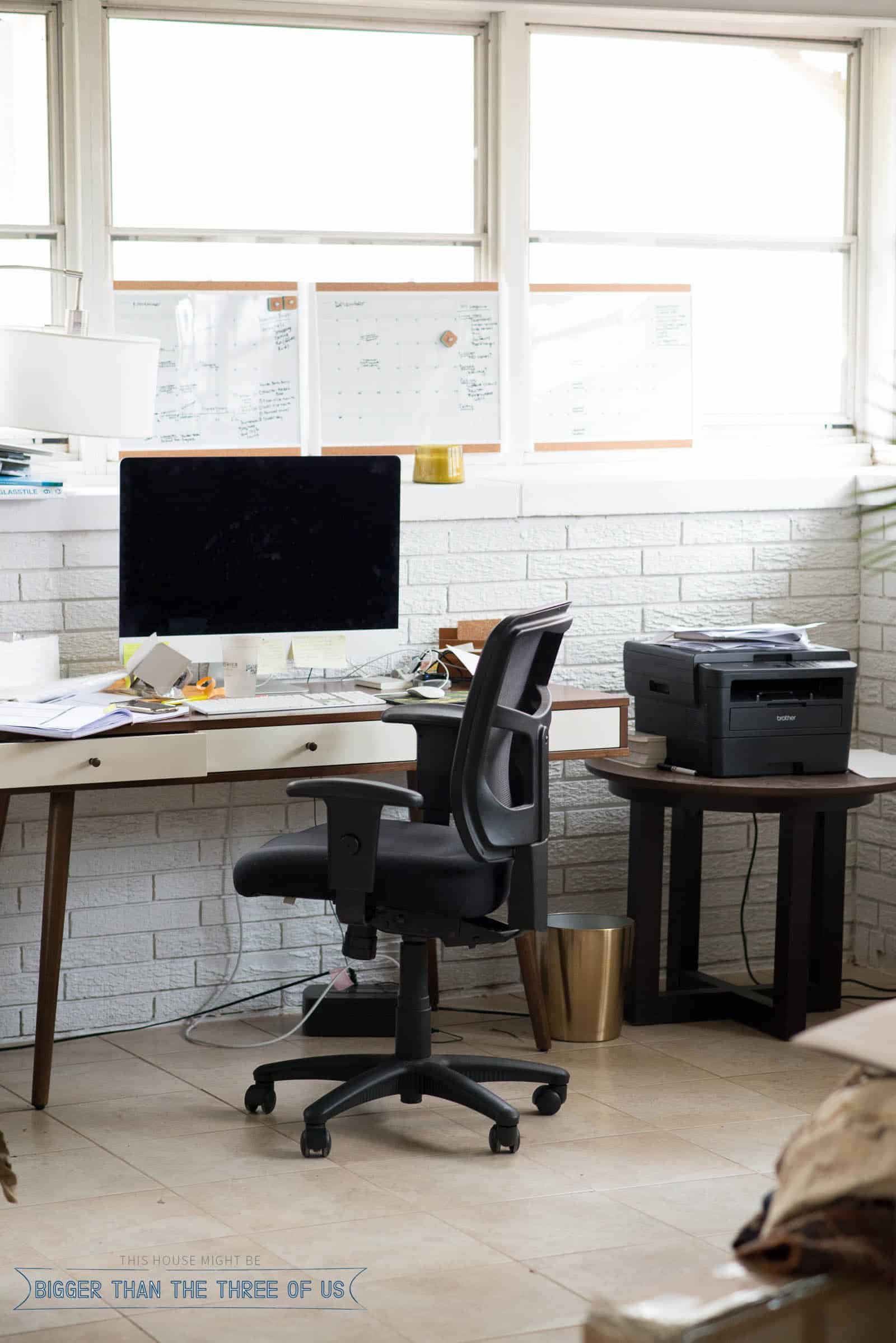 Mid-Century Desk in sunroom office