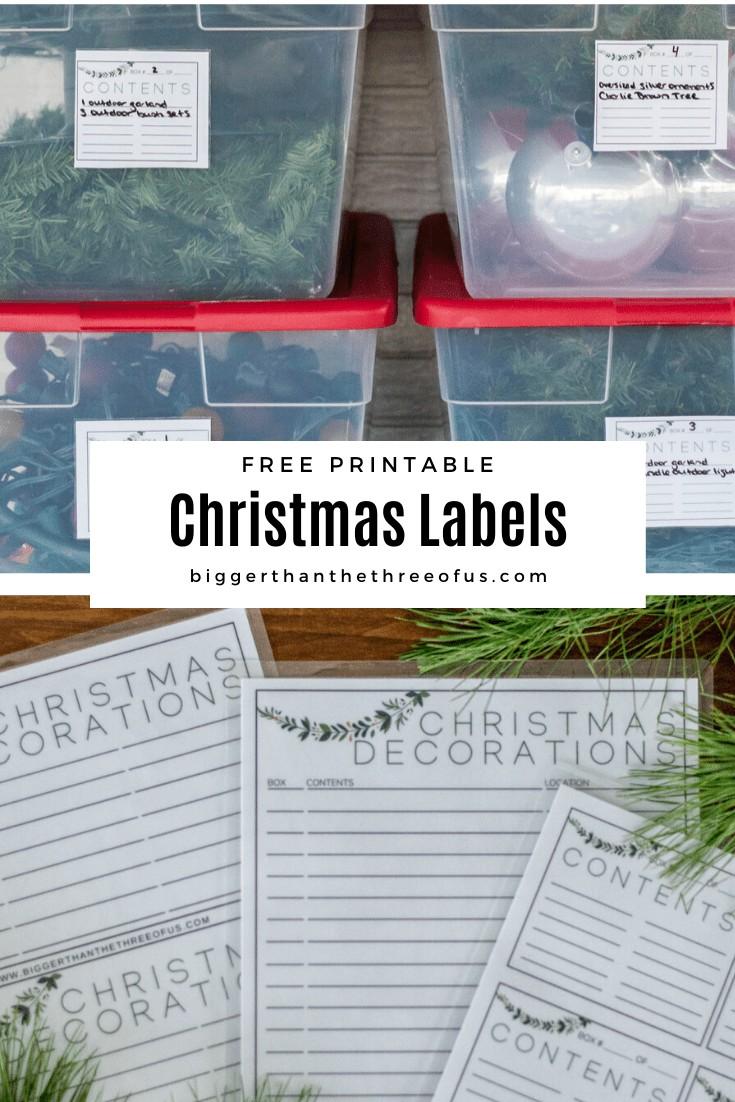 Christmas Storage Organization Labels