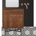 Black shiplap behind walnut vanity for a bathroom mockup
