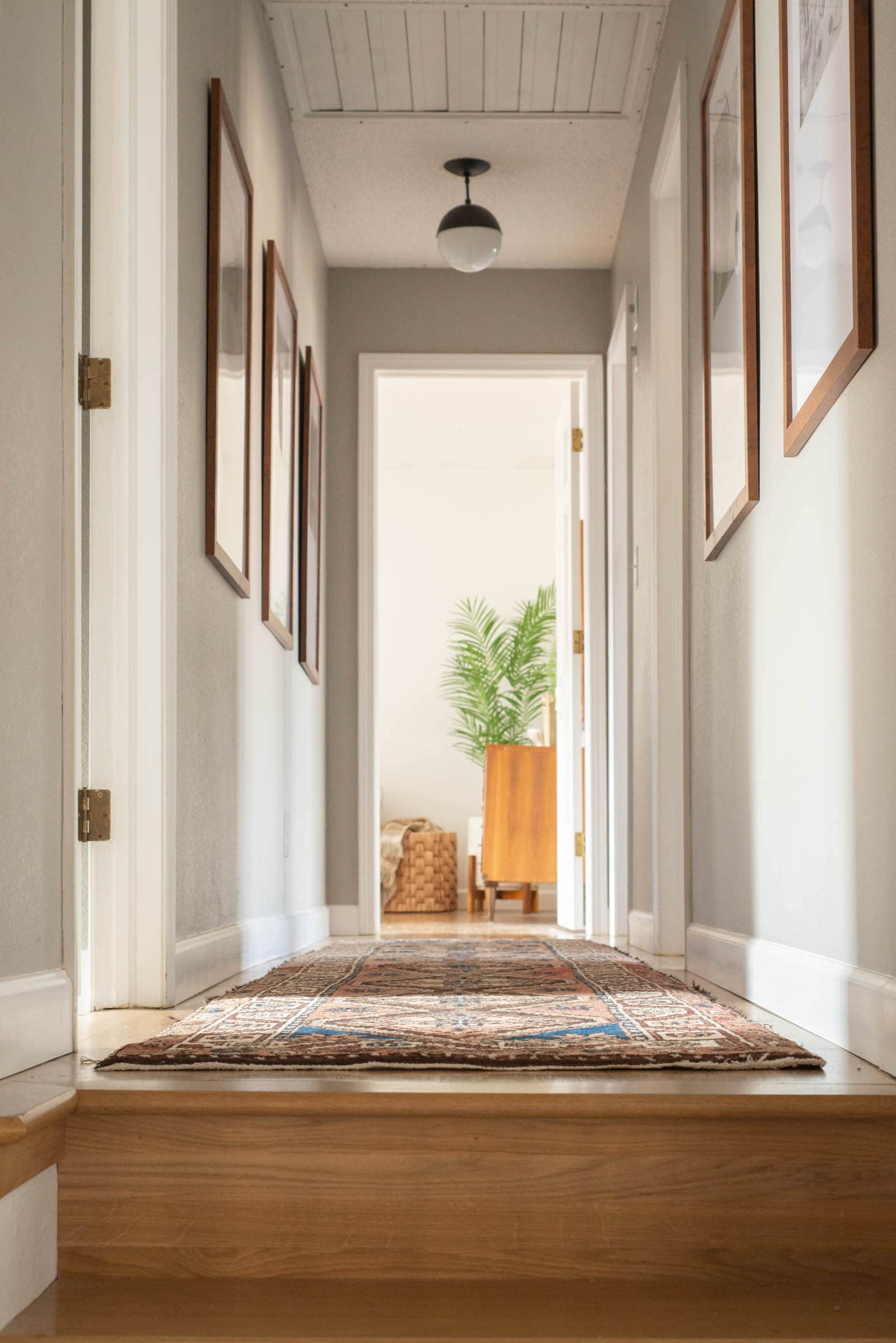 Gray hallway with rug