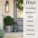 front porch decor ideas with a planter with a fake plant and a picture of a door underneath a porch