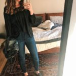 Date night outfit: jeans and slides with leather coat