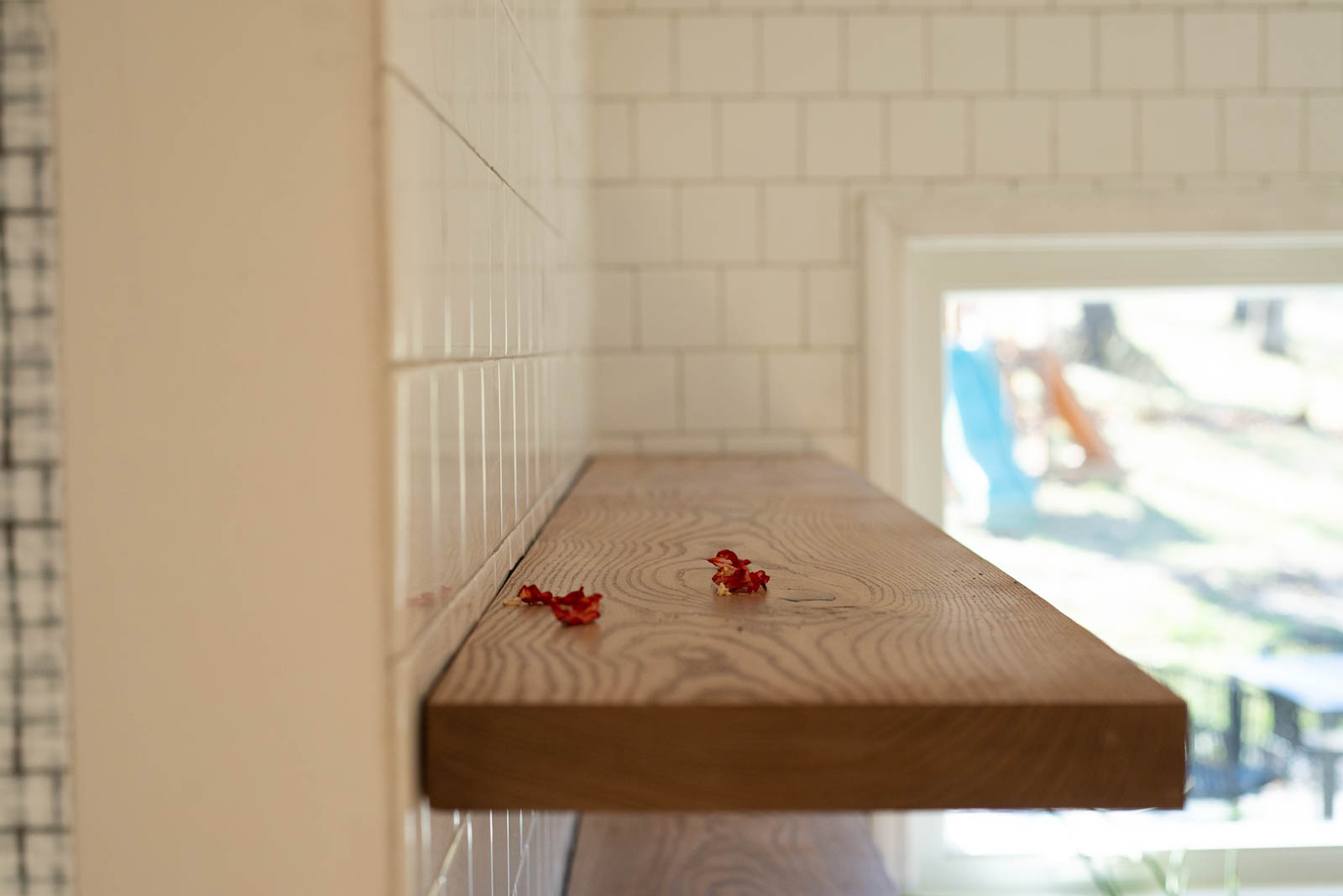 Closeup of floating shelves in the kitchen