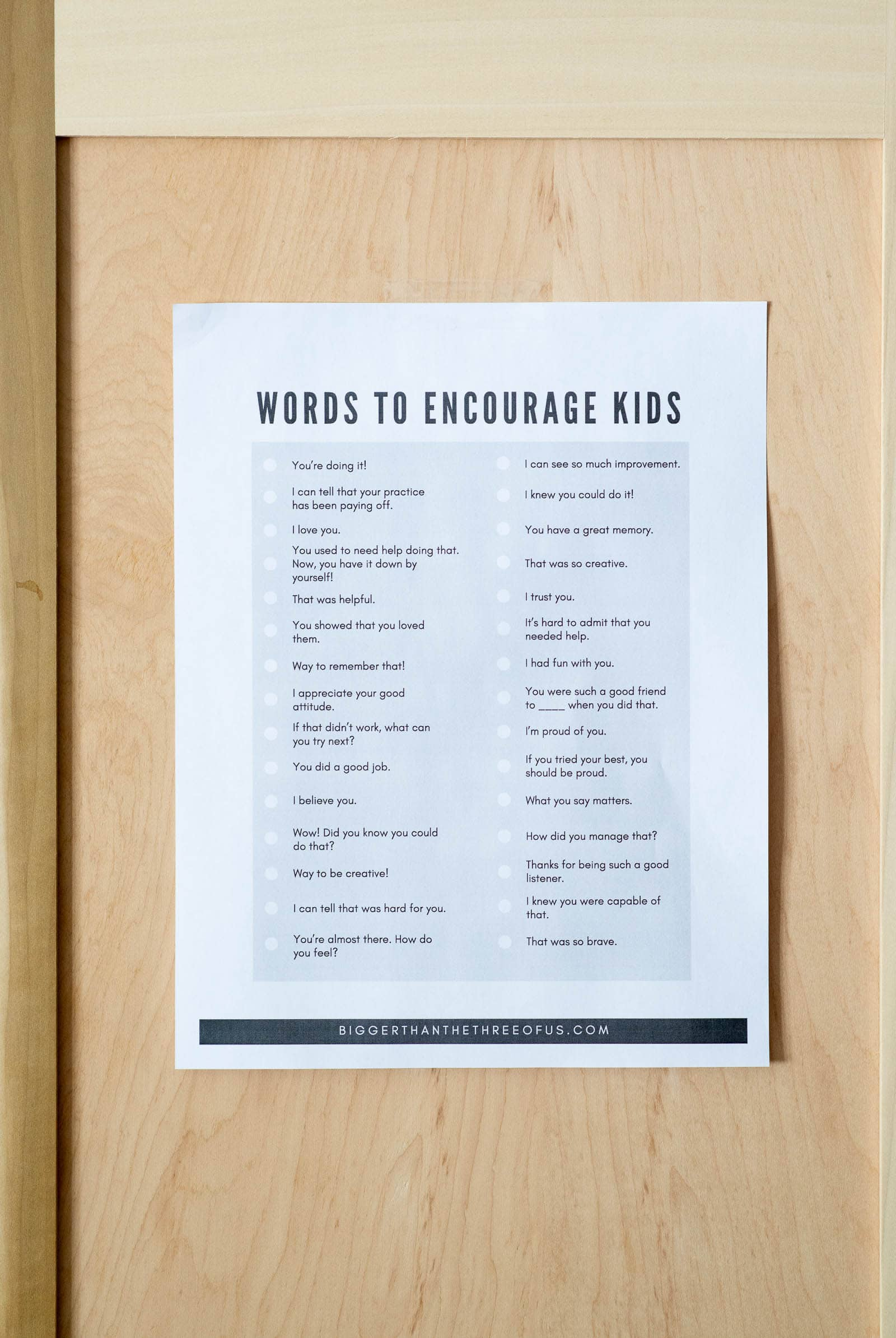 Words to encourage kids