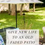 Painted flowers on patio umbrella DIY