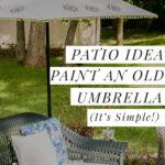 Patio idea including a painted umbrella