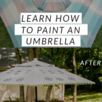 learning how to paint an umbrella on the patio