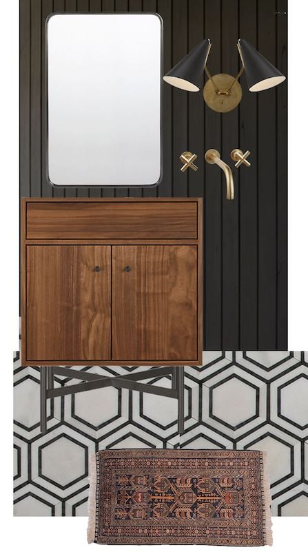 Design board of bathroom with wood vanity and black wall