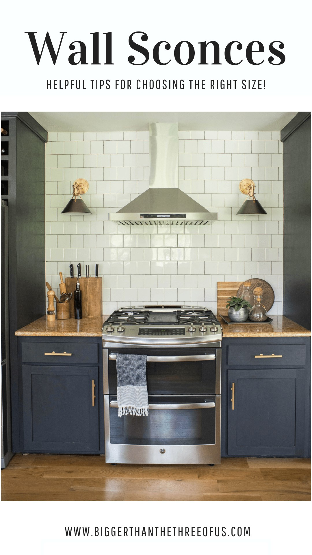 Kitchen wall sconces on tile wall