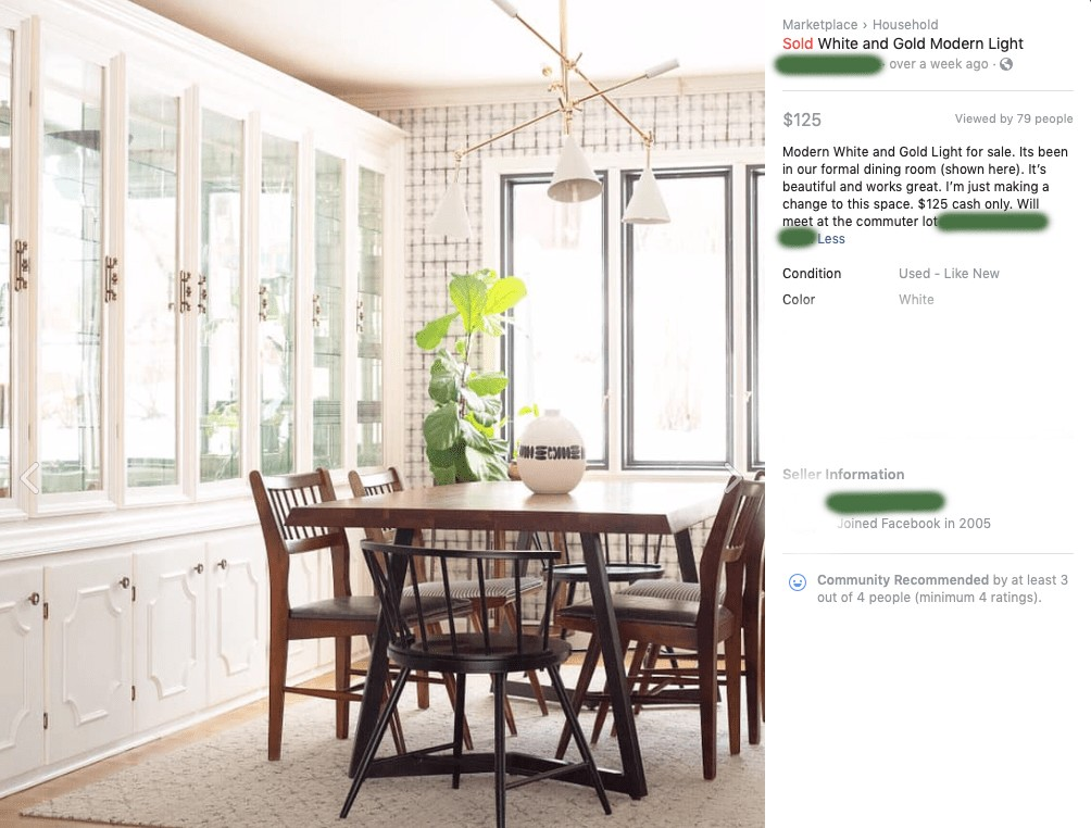 Facebook Marketplace listing
