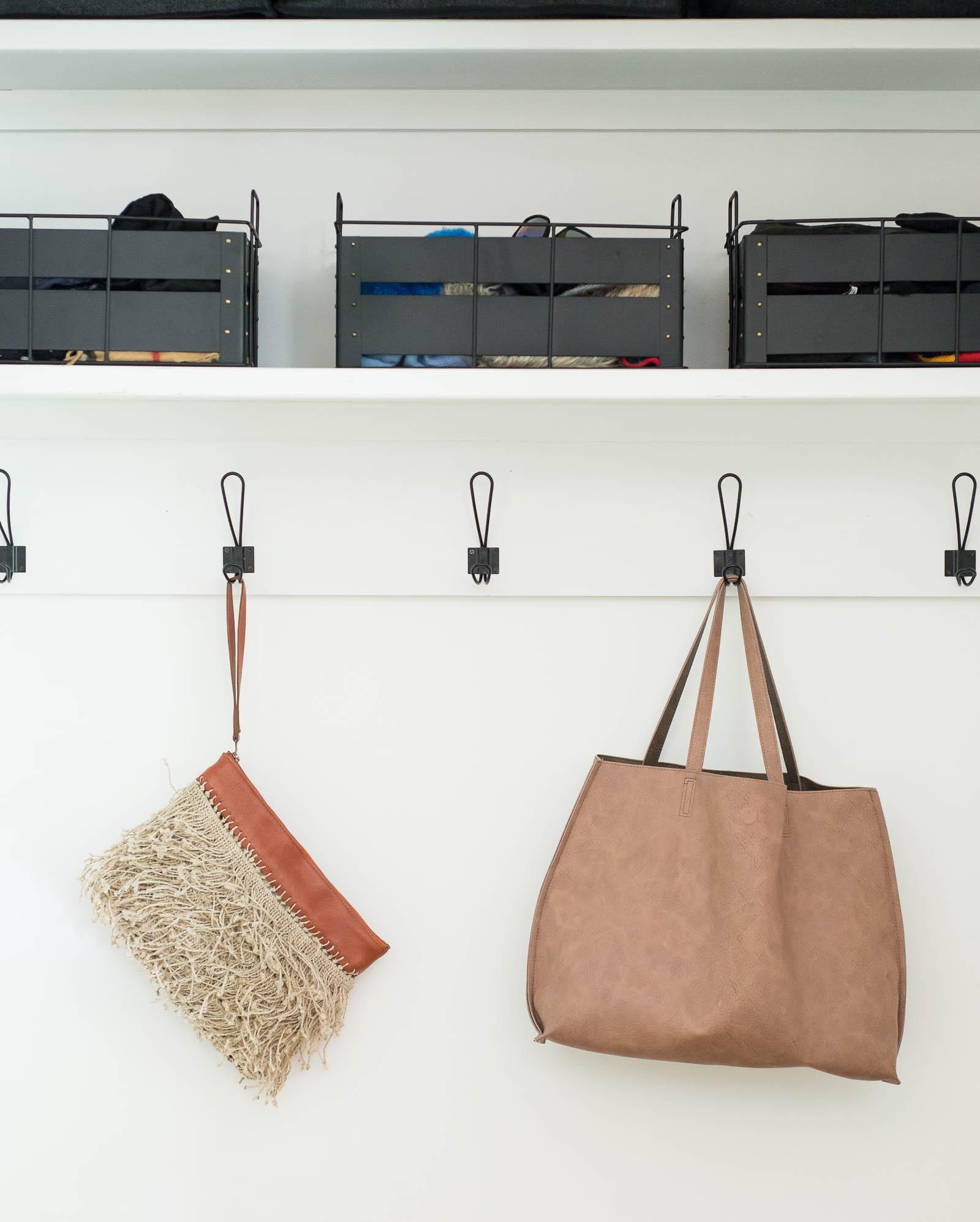 Coat closet organization.