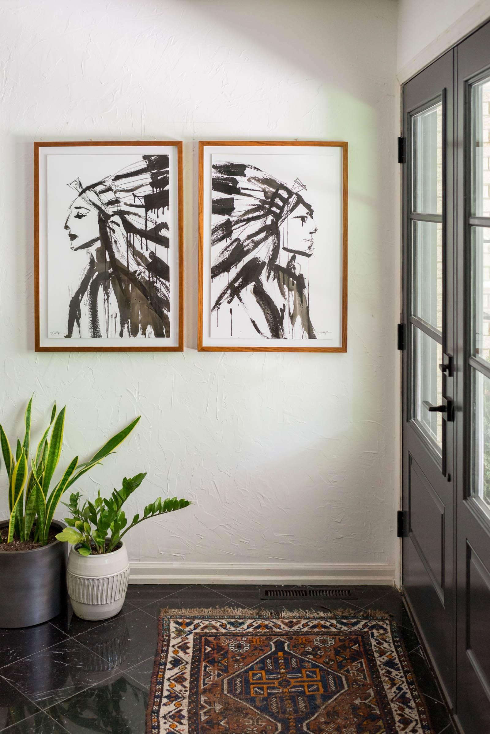 modern art in foyer