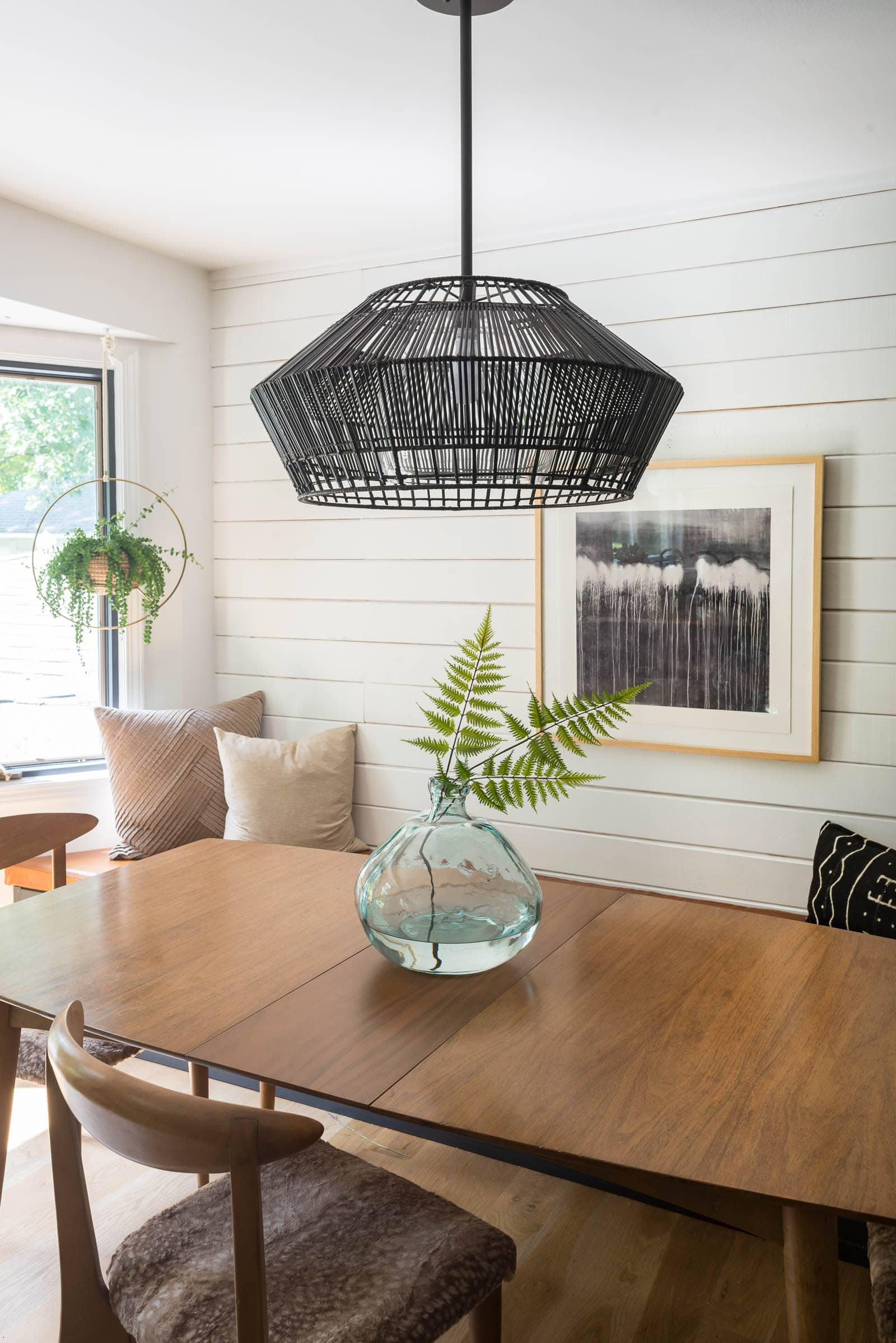 woven light above table