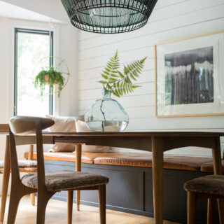Midcentury dining room furniture with bench seat
