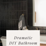 dramatic black tile in bathroom