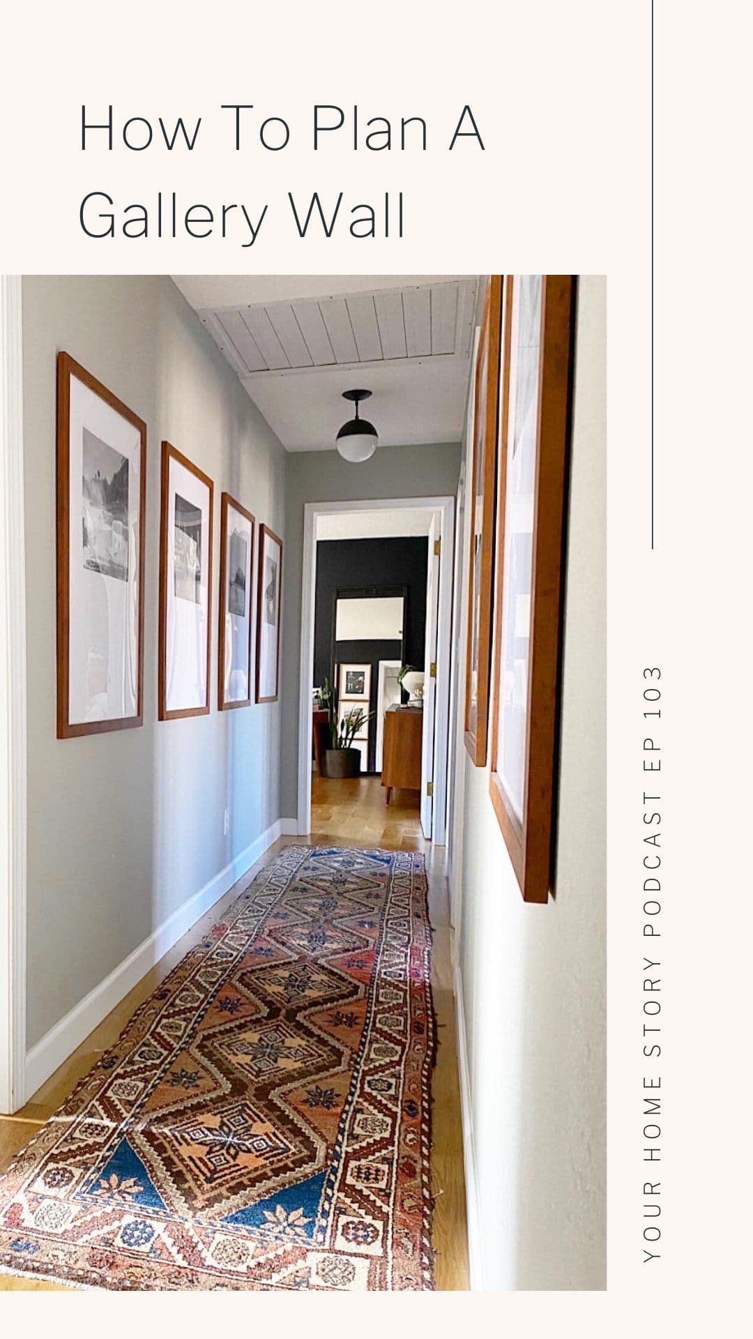 Gallery wall in hallway with family photos