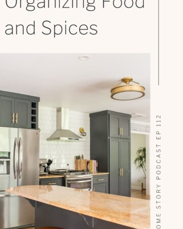Organizing food and spices in kitchen