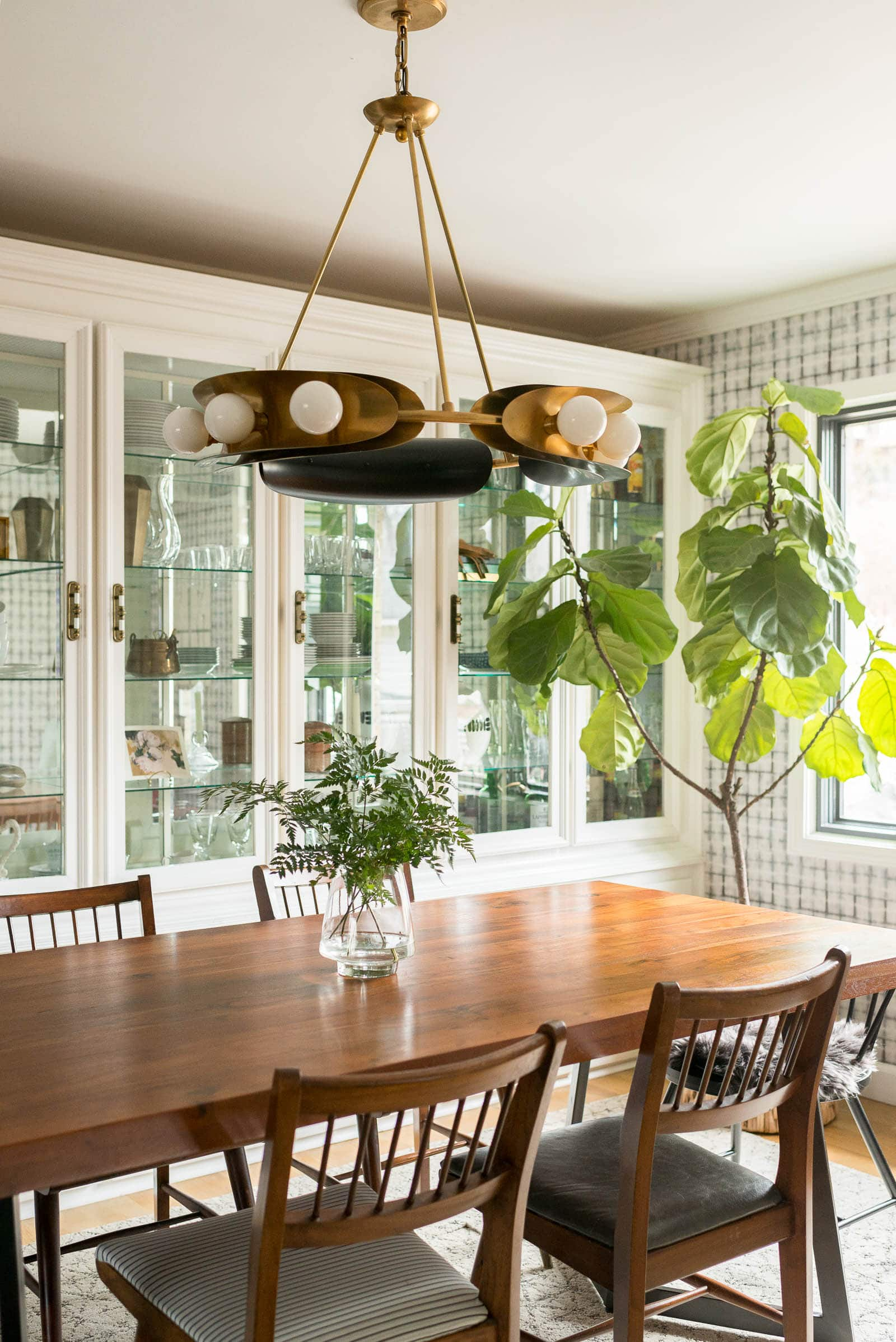 Corbett Lighting in Vintage Dining Room with Shibori Wallpaper and MidCentury Furniture