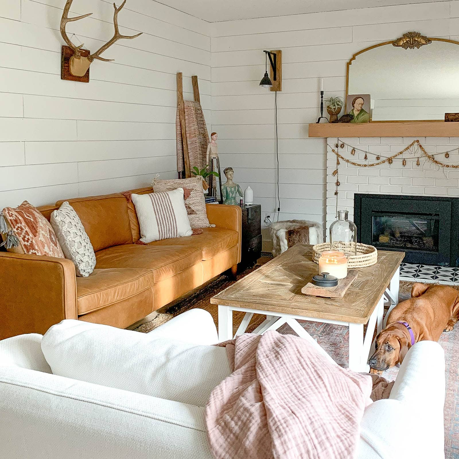 Shiplap living room with leather couch