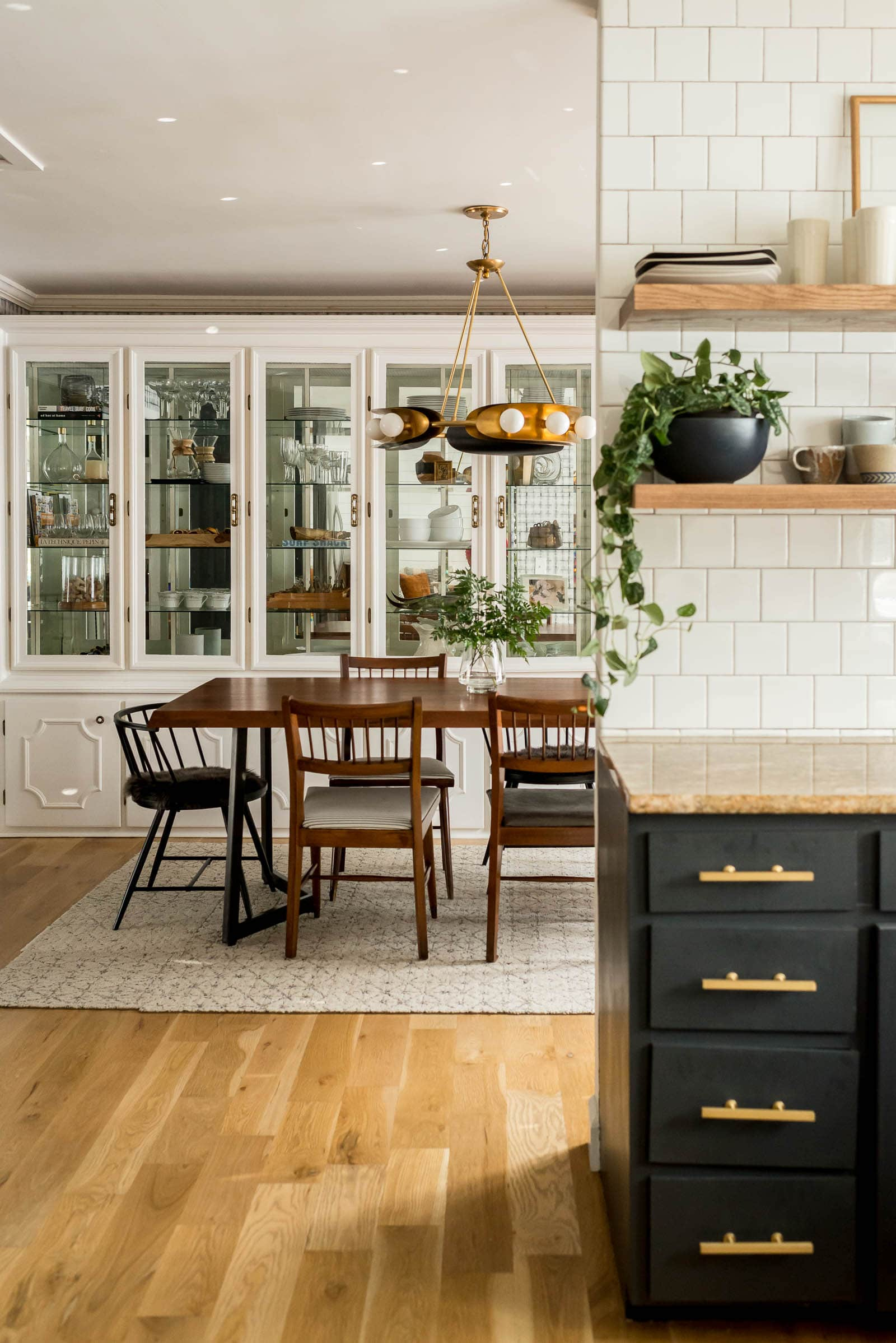 Kitchen and dining open to each other | Vintage Dining Room Makeover