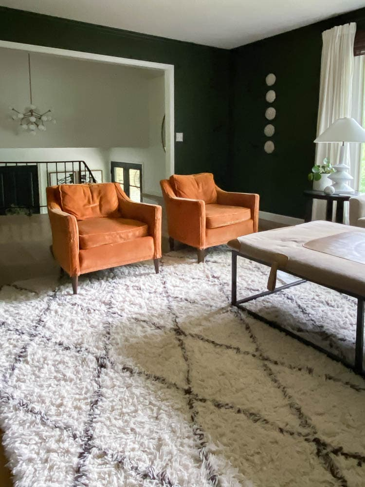 Mid century velvet chairs over a shag rug in green living room.