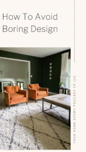 non boring design featuring vintage chairs, cream rug and green living room walls