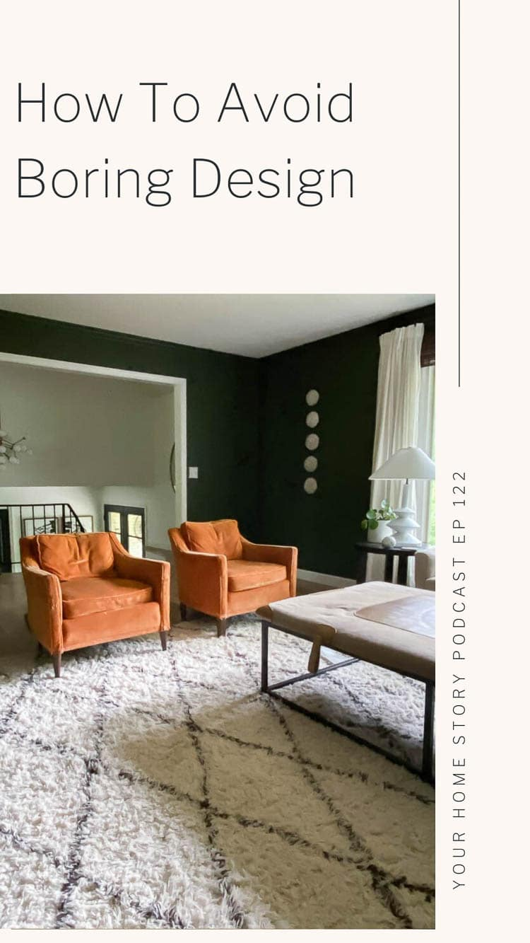Green living room with midcentury chairs and a shag rug