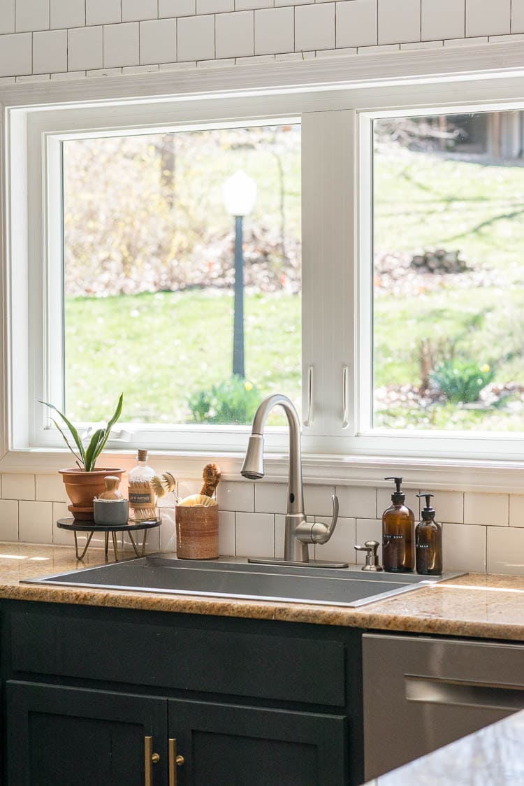 Simple home products around the kitchen sink