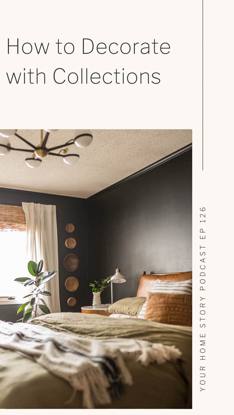 Decorating with collections featuring a black bedroom with wood bowls hung on the wall