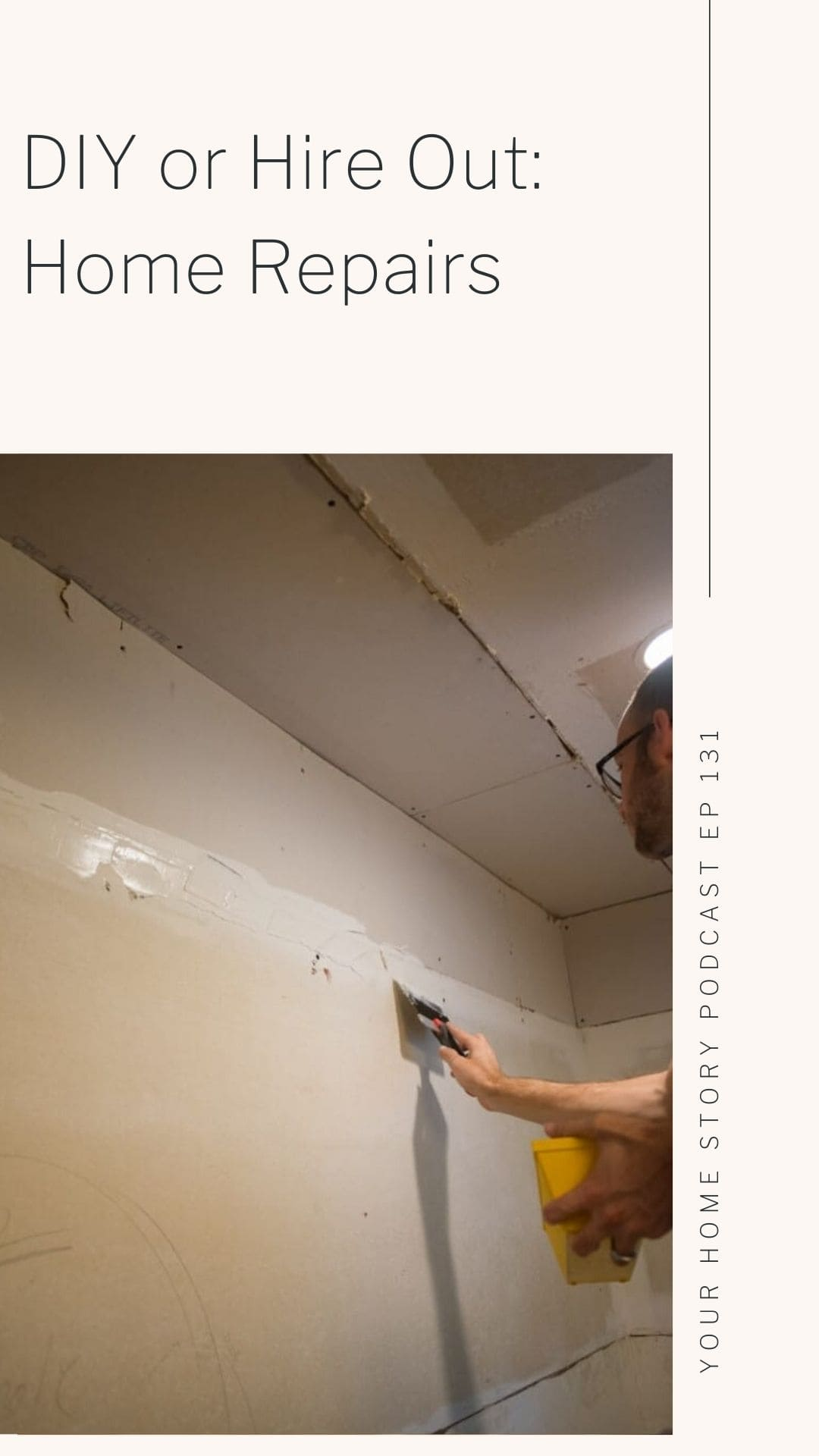 Home Repairs : DIY or Hire Out. Showing man mudding wall. .
