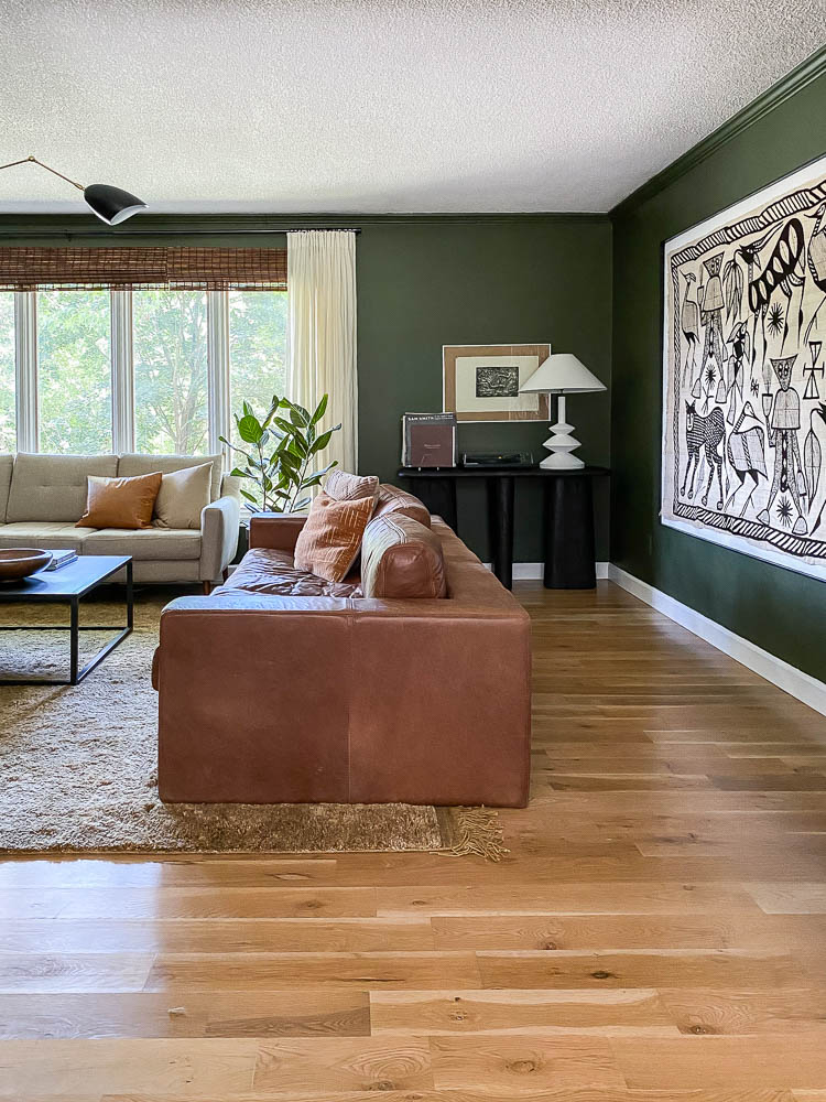 modern house tour featuring a green living room