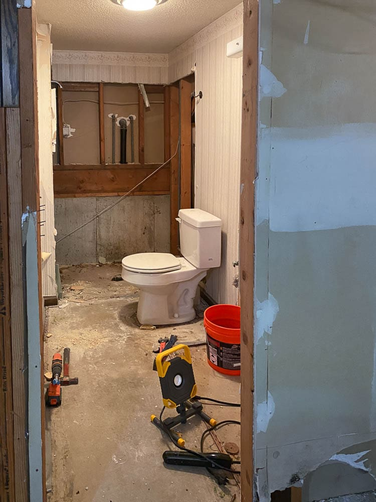 Basement bathroom rough in with plumbing