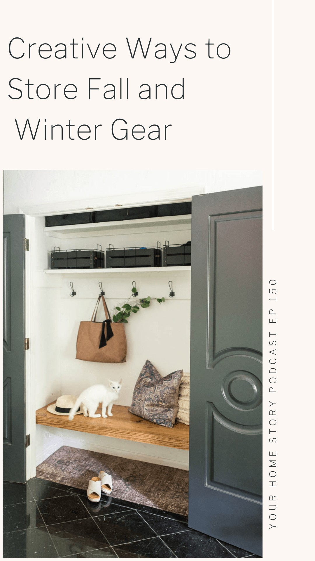 how to store winter gear featuring a bench in a coat closet