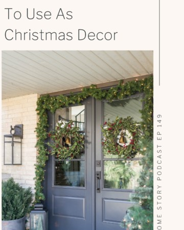everyday Christmas decor items showing a vintage bell on a wreath on the front porch