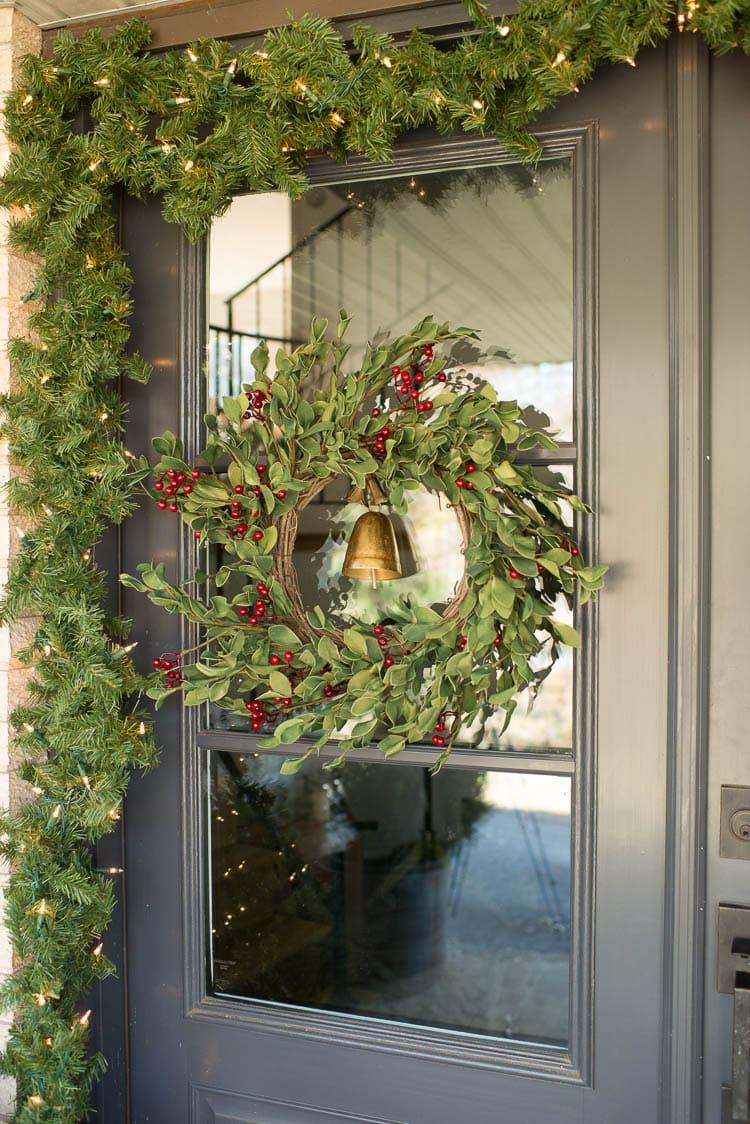Christmas Wreath on Black door outside