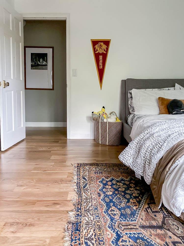 Blue Vintage Persian Rug in bedroom
