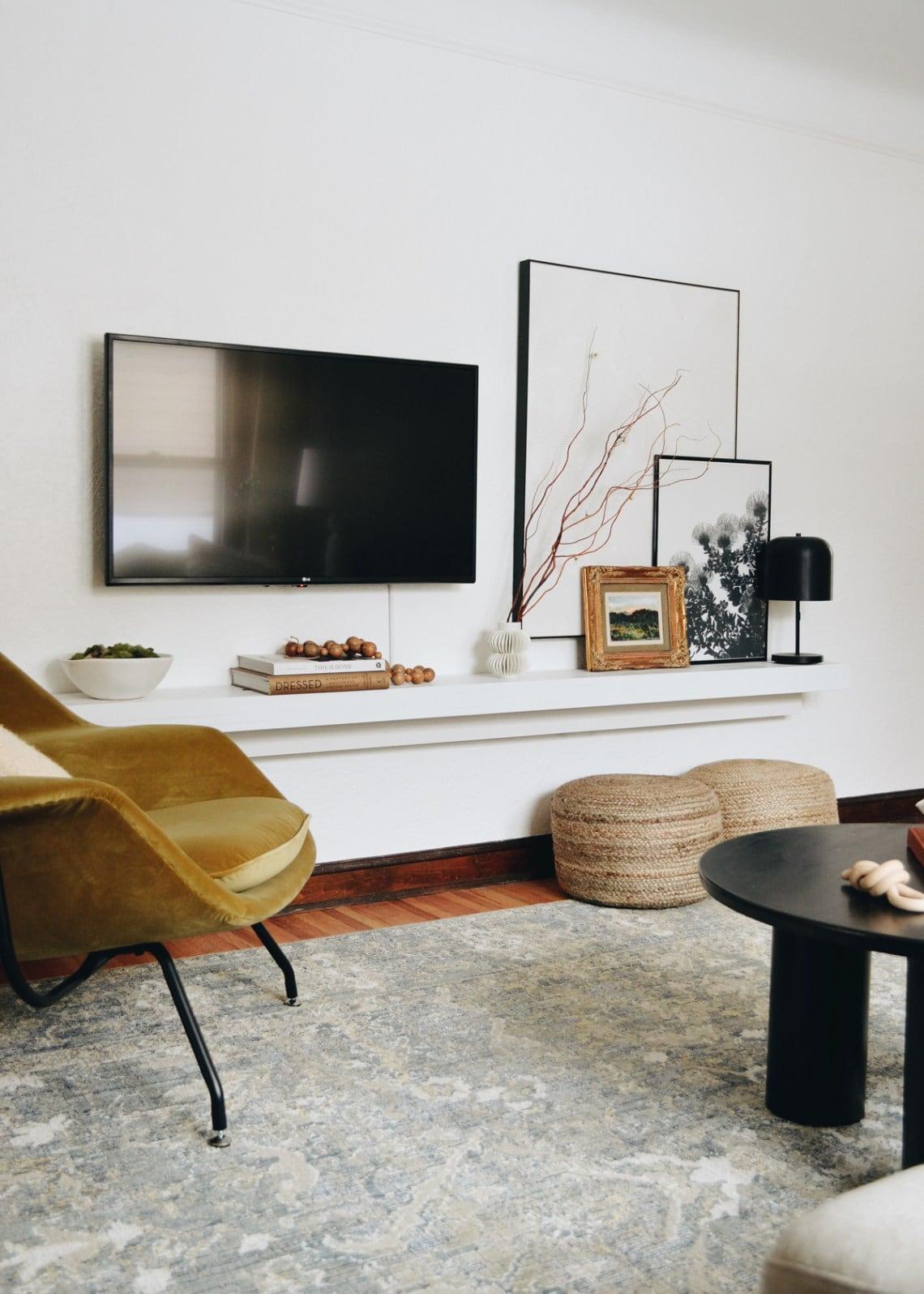 Shelf under wall mounted tv