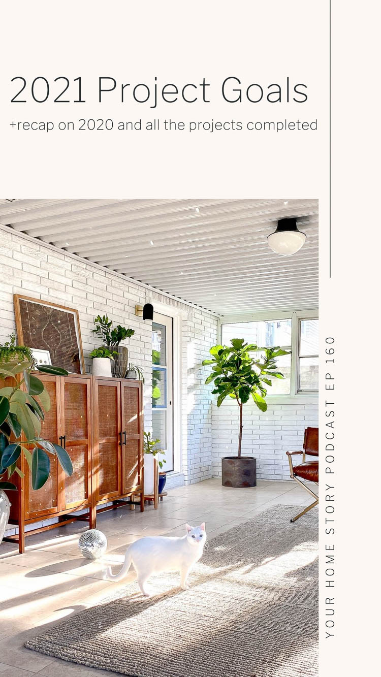 Project Goals and 2020 completed projects such as a sunroom cleanup and makeover.