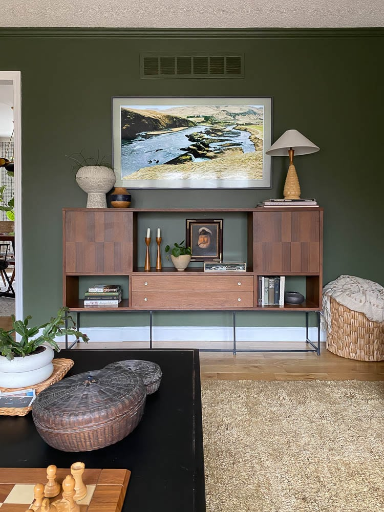 what to put under a mounted tv