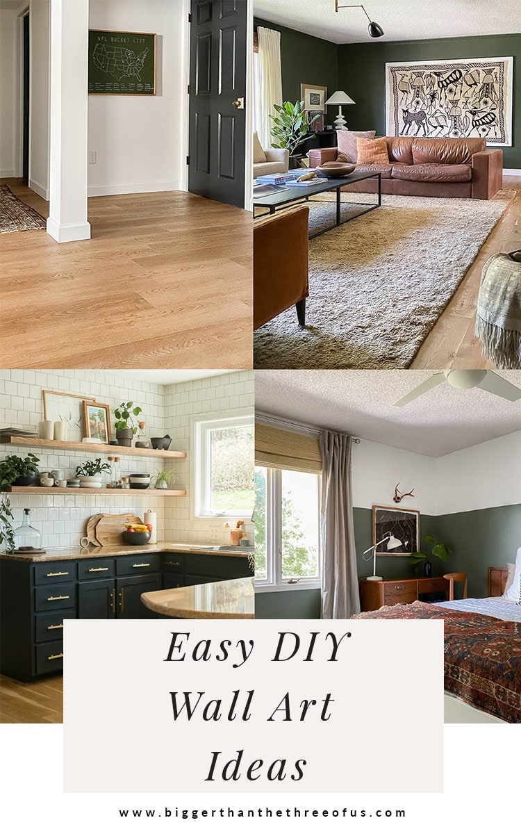 Collection of DIY art ideas for empty living room, blank walls and more. Featuring textile art as well as feather art and a bucket list art canvas.