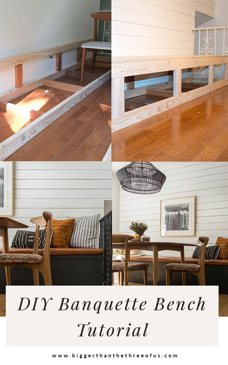 Banquette Seating tutorial showing step by step how to build a built in bench