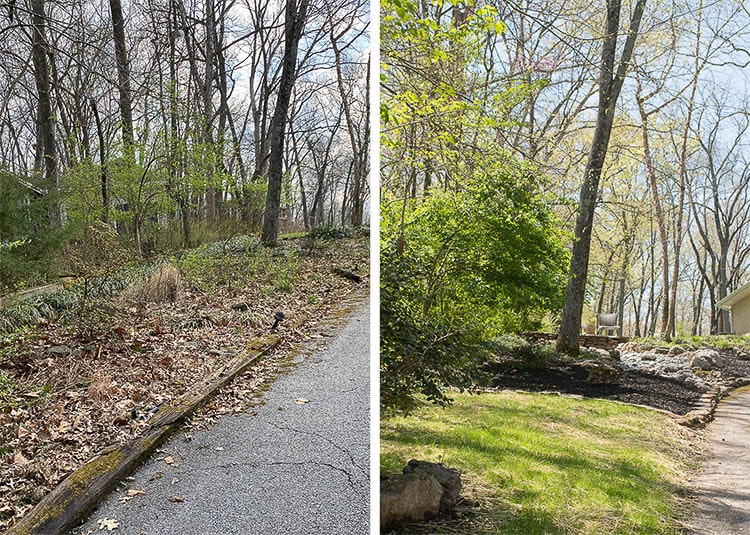 Before and after photos of landscaping with rock. Rock landscaping including rock around trees and a dry rock creek.