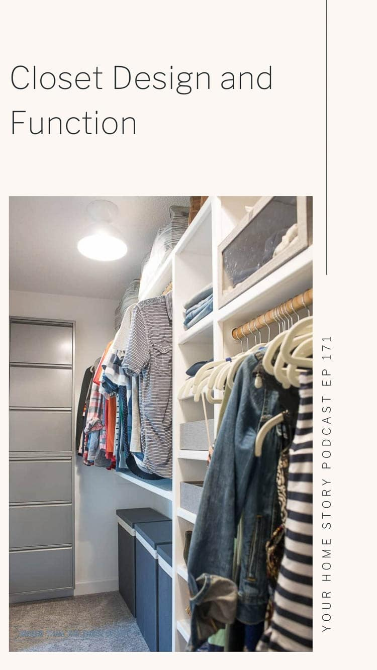 Closet design showing stacking wall shoe racks and three hampers