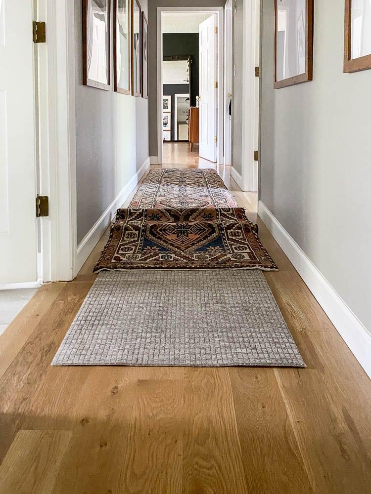 Rug pads for hardwood floors showing a runner rug pad in hallway