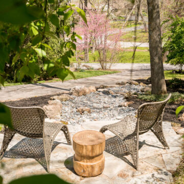 flagstone patio and dry rock bed installation
