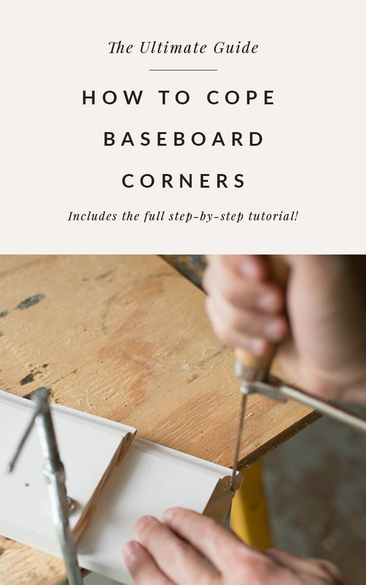 Coping baseboards - showing baseboard coping saw on baseboard and cutting the baseboard