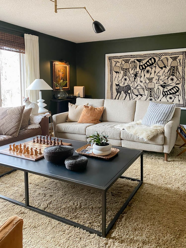 Living room with green walls, black and cream accents and a shag carpet