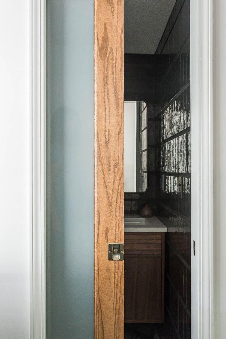Pocket door installation cost showing pocket door to bathroom