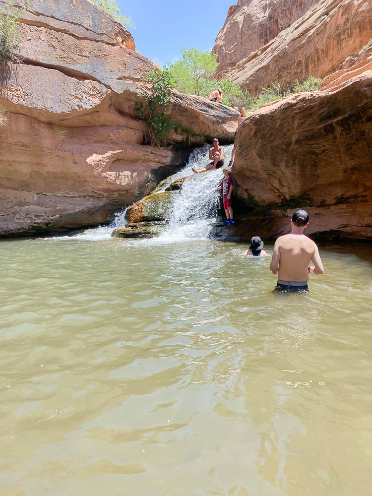 North Fork Falls in Moab Utah is a perfect swimming hole in Moab.