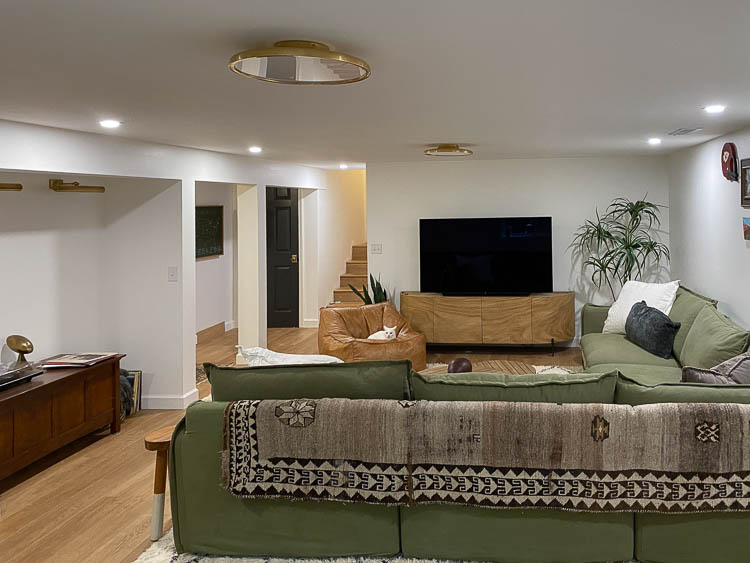 Recessed lights or can lights in the basement